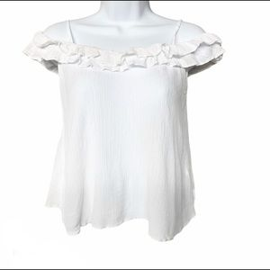 Topshop off the shoulder ruffled blouse 2